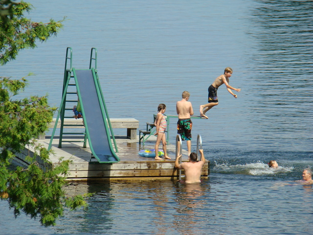 A cool dip in the lake at Tomahawk Resort